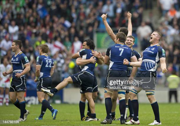 Leinster's players celebrate after their 4214 victory in the European Cup final rugby union match between Ulster and Leinster at Twickenham in London...