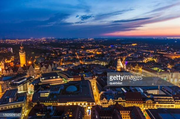 leipzig at sunset - saxony stock pictures, royalty-free photos & images