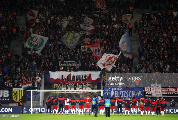 Leipzig celebrate with the fans after the UEFA Champions League round of 16 second leg match between RB Leipzig and Tottenham Hotspur at Red Bull...