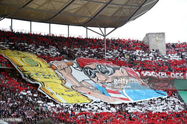 Leipzig fan choreography is seen prior to prior to the DFB Cup final between RB Leipzig and Bayern Muenchen at Olympiastadion on May 25 2019 in...