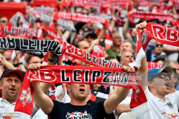 Leipzig fans display their scarves prior to the German first division Bundesliga football match between RB Leipzig and FC Bayern Munich on May 13...