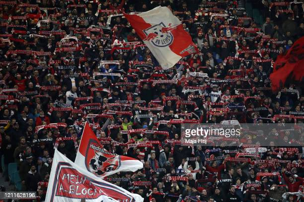 Leipzig fans show their support ahead of the UEFA Champions League round of 16 second leg match between RB Leipzig and Tottenham Hotspur at Red Bull...