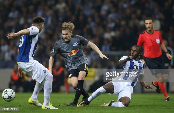 Leipzig forward Emil Forsberg from Sweden with FC Porto defender Ricardo Pereira from Portugal and FC Porto defender Ivan Marcano from Spain in...
