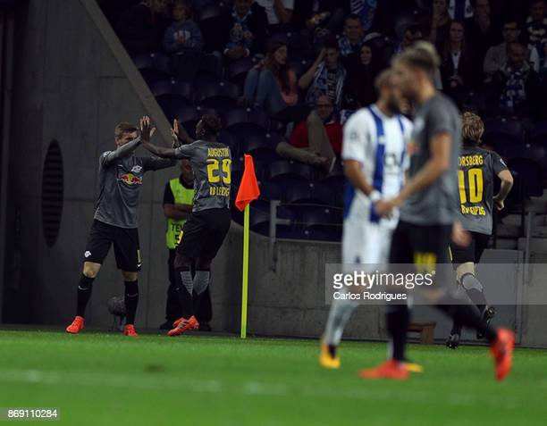 Leipzig forward Timo Werner from Germany celebrates scoring Leipzig goal with Leipzig forward Jean Kevin Augustin from France during the match...