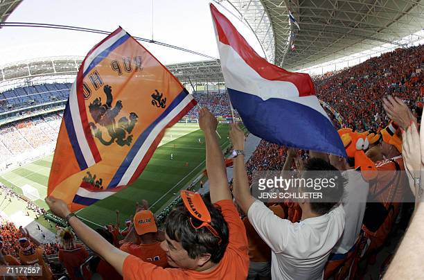 Dutch supporters are seen prior to the World Cup 2006 group C football game Serbia and Montenegro vs Netherlands 11 June 2006 at Leipzig stadium AFP...