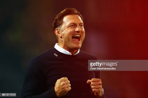 Leipzig Head Coach / Manager Ralph Hasenhuttl celebrates victory with the fans after the Bundesliga match between Borussia Dortmund and RB Leipzig at...