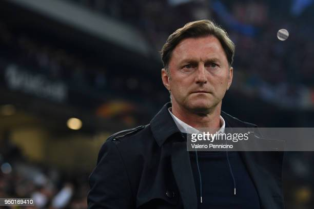 Leipzig head coach Ralph Hasenhuttl looks on during the UEFA Europa League quarter final leg two match between Olympique Marseille and RB Leipzig at...