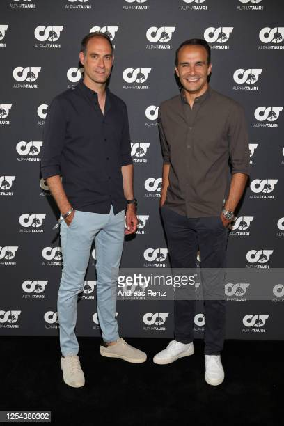 CEO RB Leipzig Oliver Mintzlaff and CEO AlphaTauri Ahmet Mercan attend the AlphaTauri Collection Preview Spring/Summer 2021 at Hotel Schönberghof on...