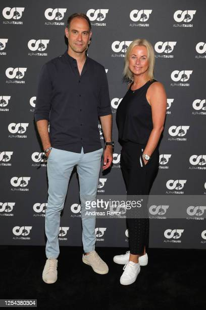 CEO RB Leipzig Oliver Mintzlaff and VP AlphaTauri Tanja Guendling attend the AlphaTauri Collection Preview Spring/Summer 2021 at Hotel Schönberghof...