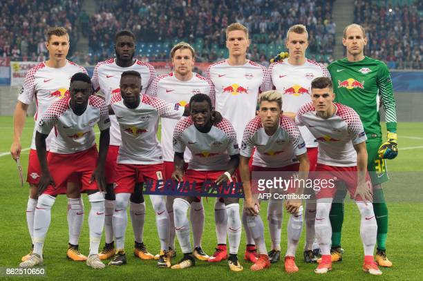 Leipzig players pose for the team photo prior to the UEFA Champions League group G football match RB Leipzig v FC Porto in Leipzig eastern Germany on...