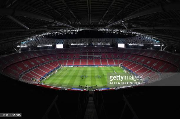 Leipzig players take part in a training session on the eve of the UEFA Champions League round of 16 first leg football match between RB Leipzig and...