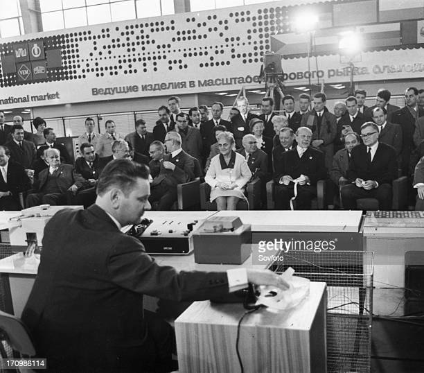 1969 leipzig spring fair march 3 delegates of the ussr and gdr watching a demonstration of the first longdistance data transmission...