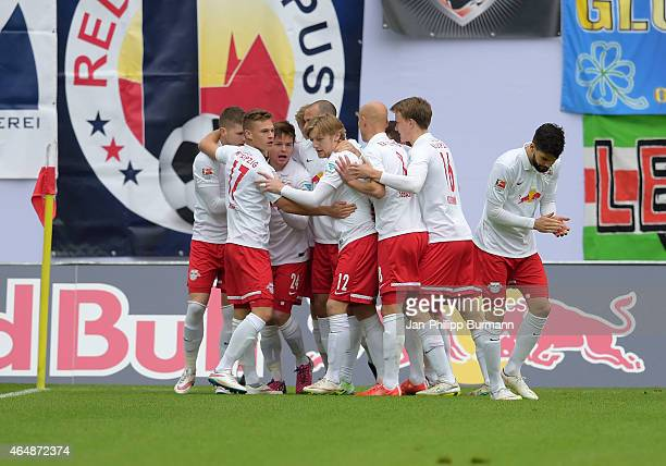 Leipzig Team celebrates after scoring the 1:0 during the game between RB Leipzig and 1 FC Union Berlin on March 1, 2015 in Leipzig, Germany.