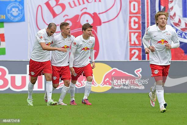 Leipzig Team celebrates after scoring the 2:0 during the game between RB Leipzig and 1 FC Union Berlin on March 1, 2015 in Leipzig, Germany.