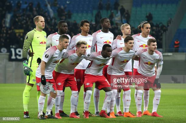 Leipzig team pose from top left to down right goalkeeper Peter Gulacsi Dayot Upamecano Bernardo Ibrahima Konate Konrad Laimer Yussuf Poulsen Diego...