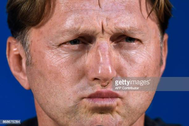 Leipzig's Austrian coach Ralph Hasenhuettl attends a press conference at Dragao stadium in Porto on October 31 2017 on the eve of the UEFA Champions...