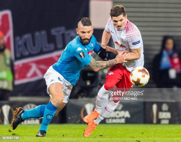 Leipzig´s Austrian forward Marcel Sabitzer and Napoli´s Italian defender Lorenzo Tonelli vie for the ball during the UEFA Europa League football...