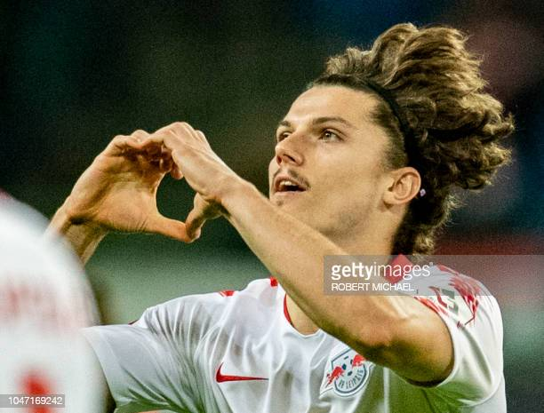 Leipzig´s Austrian forward Marcel Sabitzer celebrates after scoring the fifth goal during the German first division Bundesliga football match RB...