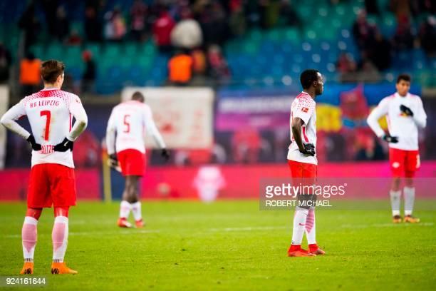 Leipzig´s Austrian forward Marcel Sabitzer Leipzig's French defender Dayot Upamecano Leipzig's Portuguese midfielder Bruma and Leipzig's Brazilian...