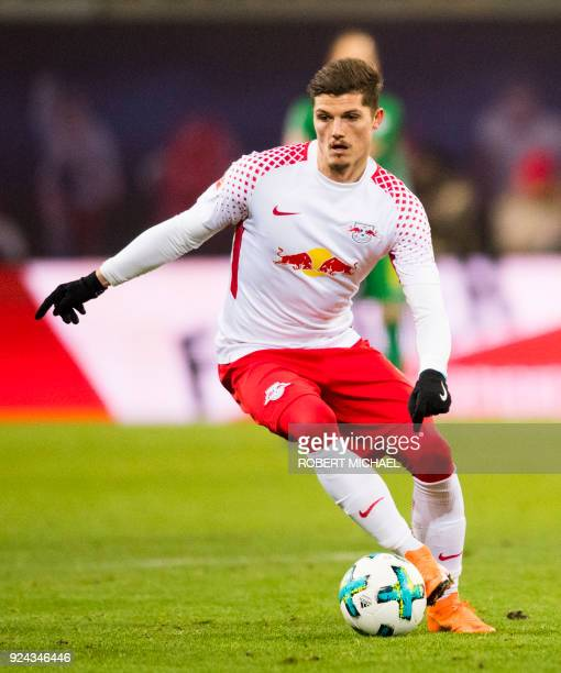 Leipzig's Austrian forward Marcel Sabitzer plays the ball during the German first division Bundesliga football match RB Leipzig vs FC Cologne in...