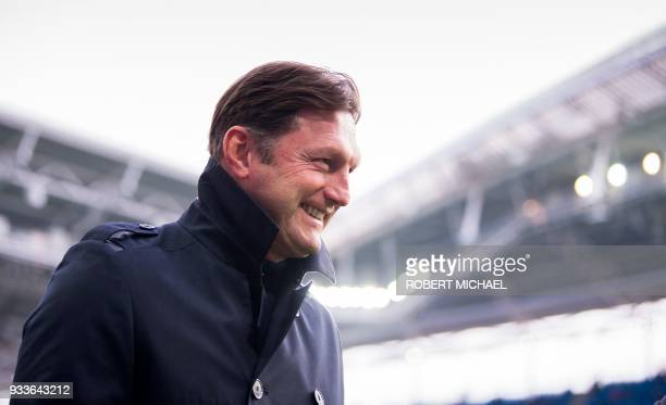 Leipzig's Austrian head coach Ralph Hasenhuettl looks on prior to the German first division Bundesliga football match between RB Leipzig and FC...