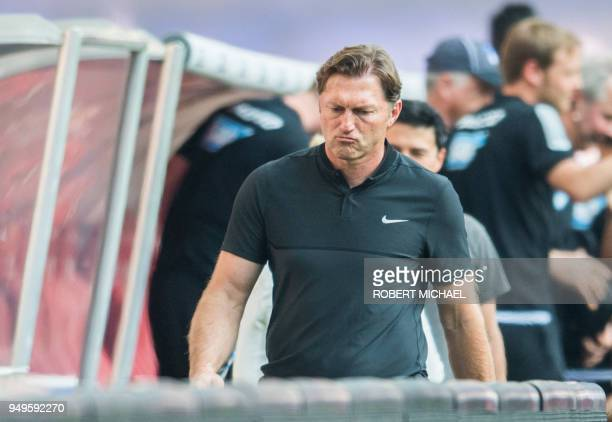 Leipzig's Austrian head coach Ralph Hasenhuettl reacts after the German first division Bundesliga football match between RB Leipzig and TSG...