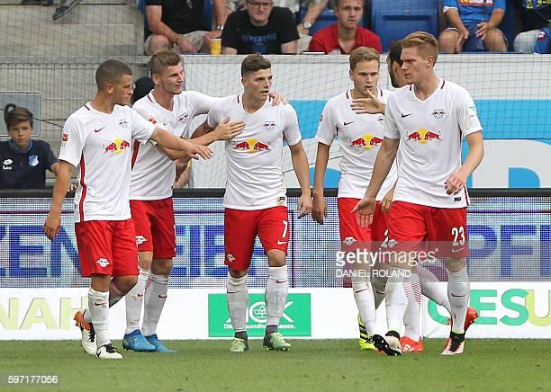 Leipzig's Austrian midfielder Marcel Sabitzer celebrate scoring the 22 during the German first division Bundesliga football match of TSG 1899...