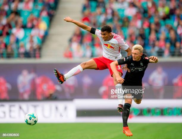 Leipzig's Brazilian defender Bernardo and Stuttgart's defender Andreas Beck vie for the ball during the German first division Bundesliga football...