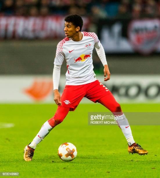 Leipzig's Brazilian defender Bernardo Fernandes da Silva Junior plays the ball during the UEFA Europa League football match between SSC Napoli and RB...