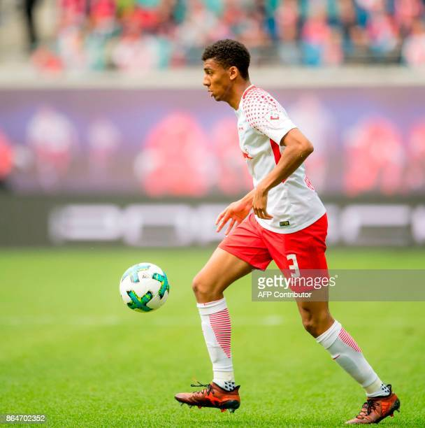 Leipzig's Brazilian defender Bernardo plays the ball during the German first division Bundesliga football match between RB Leipzig and VfB Stuttgart...
