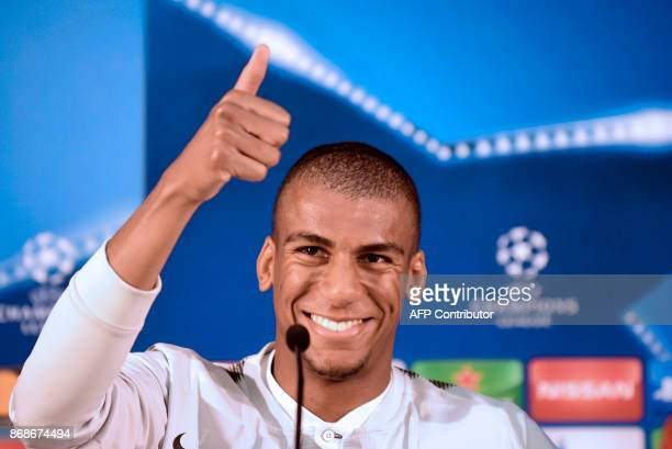 Leipzig's Brazilian midfielder Bernardo da Silva thumbs up during a press conference at Dragao stadium in Porto on October 31 2017 on the eve of the...