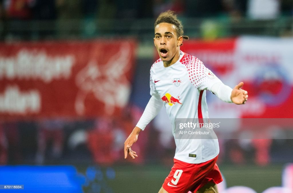 Leipzig's Danish forward Yussuf Poulsen celebrates after scoring during the German first division Bundesliga football match RB Leipzig vs Hannover 96 in Leipzig, eastern Germany, on November 4, 2017. /