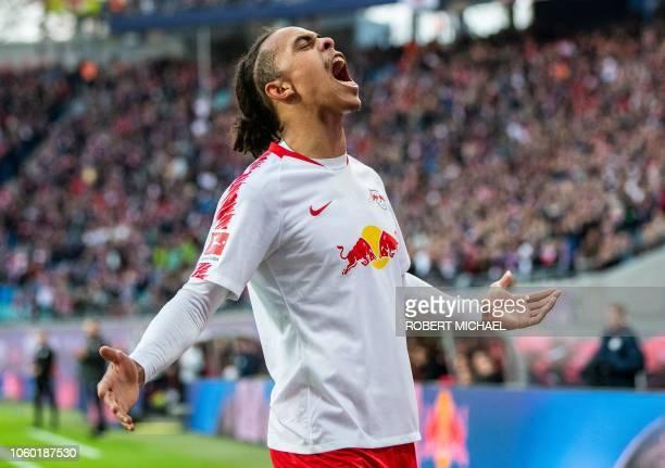 Leipzig´s Danish forward Yussuf Poulsen celebrates scoring during the German first division Bundesliga football match RB Leipzig vs Bayer Leverkusen...