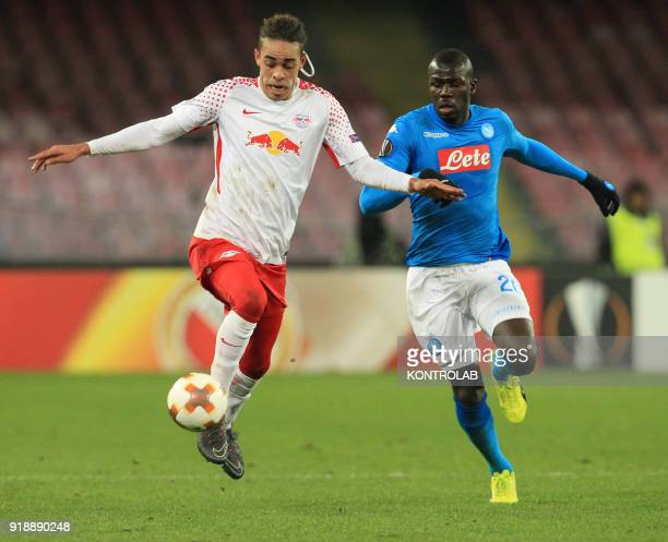 STADIUM NAPLES CAMPANIA ITALY Leipzig's Danish striker Yussuf Poulsen fights for the ball with Napoli's French defender Kalidou Koulibaly during the...