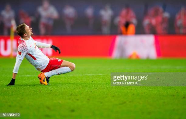 Leipzig's defender Marcel Halstenberg reacts at the end of the German first division Bundesliga football match between RB Leipzig and Hertha Berlin...