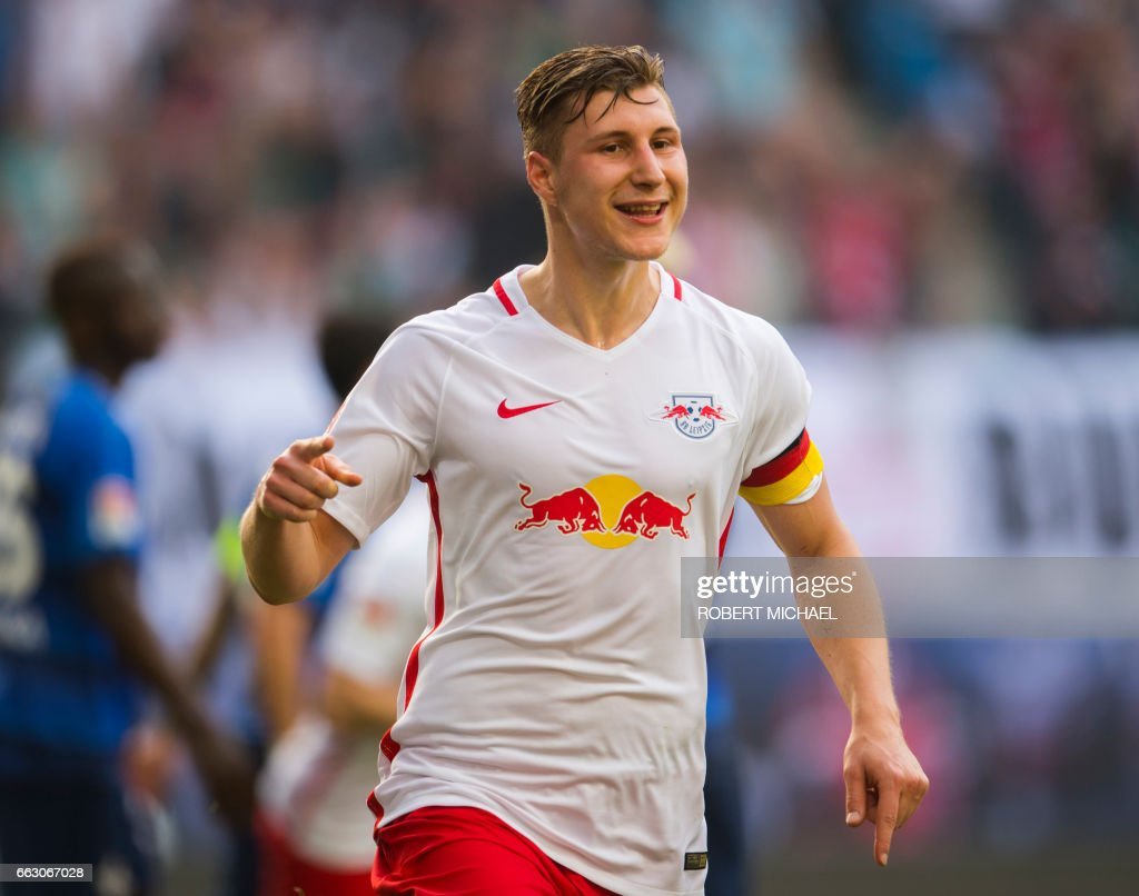 Leipzig's defender Willi Orban celebrates after scoring the 3-0 during the German first division Bundesliga football match between RB Leipzig and SV Darmstadt 98 in Leipzig, eastern Germany, on April 1, 2017. /
