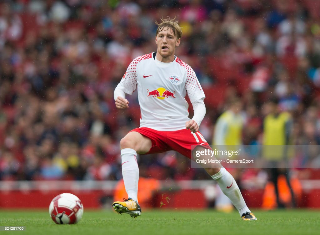 RB Leipzig's Emil Forsberg in action during the Emirates Cup match between RB Leipzig and Sevilla FC at Emirates Stadium on July 29, 2017 in London, England.
