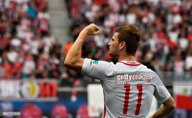 Leipzig's forward Timo Werner celebrates after scoring during the Bundesliga match RB Leipzig vs Bayern Munich in Leipzig on May 13 2017 Bayern came...