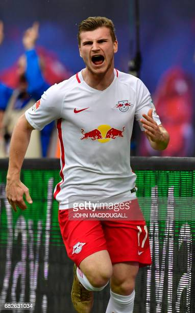Leipzig's forward Timo Werner celebrates after scoring the 42 during the German first division Bundesliga football match between RB Leipzig and FC...