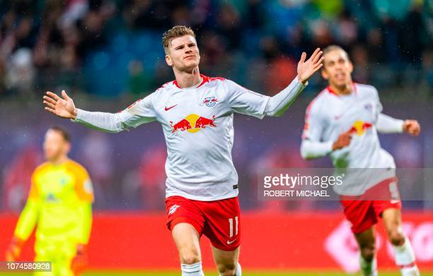 Leipzig´s forward Timo Werner celebrates scoring during the German first division Bundesliga football match between RB Leipzig and Werder Bremen in...
