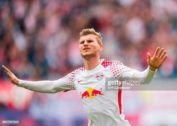 Leipzig´s forward Timo Werner celebrates scoring during the German dirst division Bundesliga football match between RB Leipzig and Eintracht...