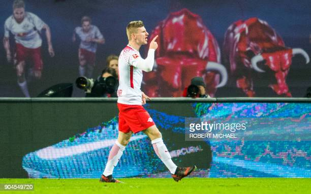 Leipzig´s forward Timo Werner celebrates scoring during the German first division Bundesliga football match between RB Leipzig and FC Schalke 04 in...