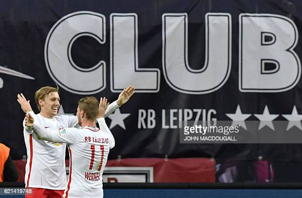 Leipzig's forward Timo Werner celebrates with Leipzig's Swedish midfielder Emil Forsberg after scoring the second time during the German first...