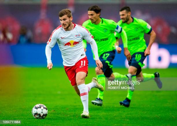 Leipzig´s forward Timo Werner plays the ball during the German first division Bundesliga football match between RB Leipzig and Schalke 04 in Leipzig...
