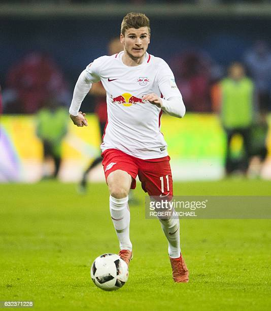 Leipzig's forward Timo Werner plays the ball during the German first division Bundesliga football match between RB Leipzig and Eintracht Frankfurt in...