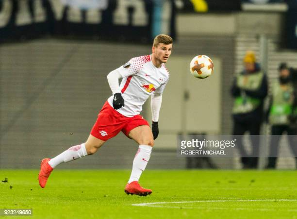 Leipzig's forward Timo Werner plays the ball during the UEFA Europa League football match between SSC Napoli and RB Leipzig on February 22 2018 in...