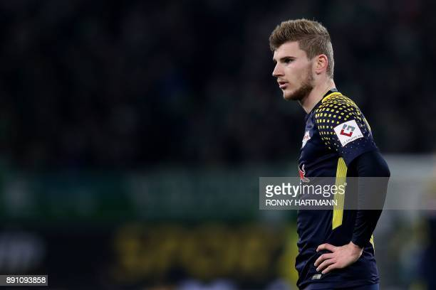 Leipzig's forward Timo Werner reacts during the German first division Bundesliga football match between VfL Wolfsburg and RB Leipzig on December 12...