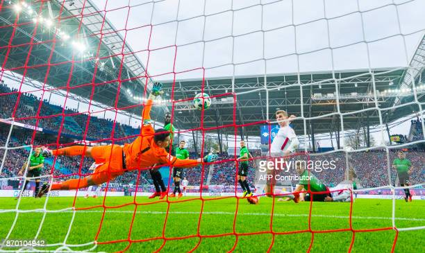 TOPSHOT Leipzig´s forward Timo Werner scores an offside goal during the German first division Bundesliga football match between RB Leipzig and...