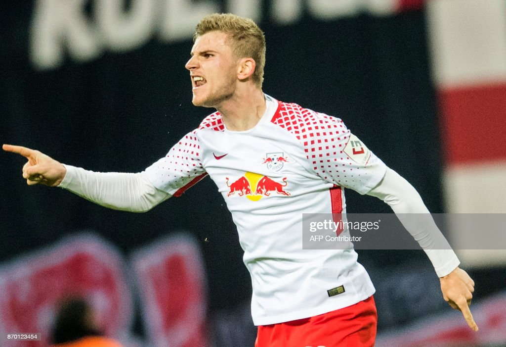 Leipzig's German forward Timo Werner celebrates after scoring during the German first division Bundesliga football match RB Leipzig vs Hannover 96 in Leipzig, eastern Germany, on November 4, 2017. /