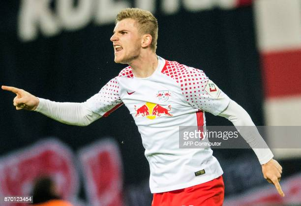 Leipzig's German forward Timo Werner celebrates after scoring during the German first division Bundesliga football match RB Leipzig vs Hannover 96 in...